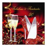 Cumpleaños rojo abstracto fantástico del oro 50 invitaciones personales