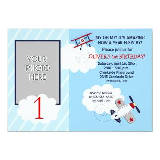 """Cumpleaños rojo/azul del pequeño aviador del invitación 5"""" x 7"""""""