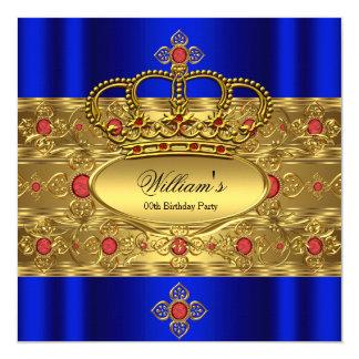 """Cumpleaños rojo de la corona del oro del rey invitación 5.25"""" x 5.25"""""""