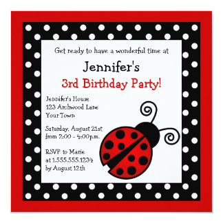 """Cumpleaños rojo de la mariquita - lunares blancos invitación 5.25"""" x 5.25"""""""
