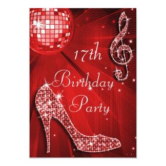 """Cumpleaños rojo de los talones de la bola de invitación 5"""" x 7"""""""