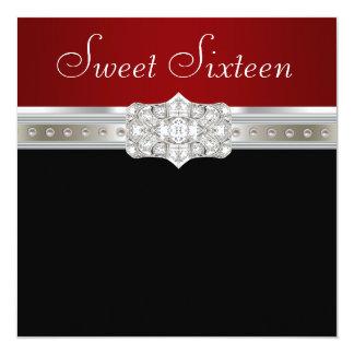 """Cumpleaños rojo de rubíes del dulce dieciséis de invitación 5.25"""" x 5.25"""""""