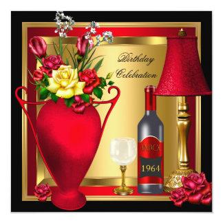 """Cumpleaños rojo del cristal de botellas de vino de invitación 5.25"""" x 5.25"""""""