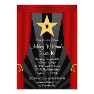 Cumpleaños rojo del dulce 16 de las cortinas de la invitación 12,7 x 17,8 cm