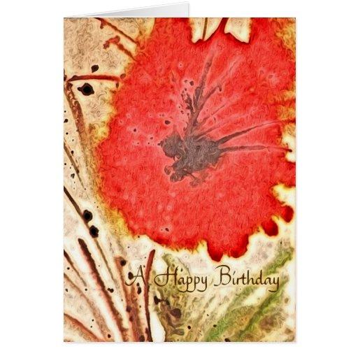 Cumpleaños rojo del extracto de la flor tarjeta de felicitación