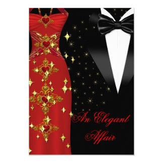 Cumpleaños rojo del oro del lazo negro del vestido invitación 12,7 x 17,8 cm