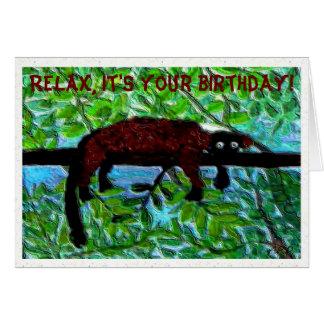 Cumpleaños rojo divertido del Lemur Tarjeta De Felicitación