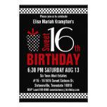 Cumpleaños rojo negro del dulce 16 de Polkadots Invitación