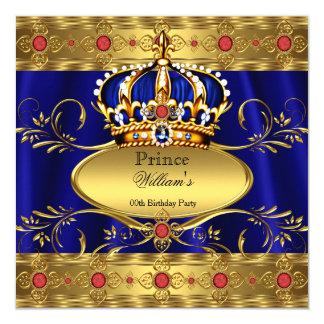 """Cumpleaños rojo real 3 de la corona del rey invitación 5.25"""" x 5.25"""""""