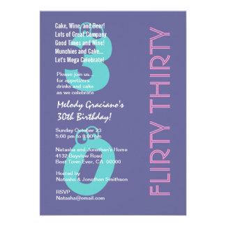 Cumpleaños rosado azul púrpura treinta coquetos mo comunicados personales