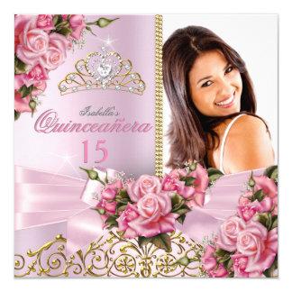"""Cumpleaños rosado bonito de la foto de la tiara de invitación 5.25"""" x 5.25"""""""
