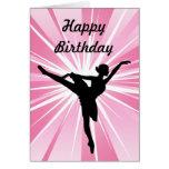 Cumpleaños rosado de la bailarina de la estrella tarjeta de felicitación