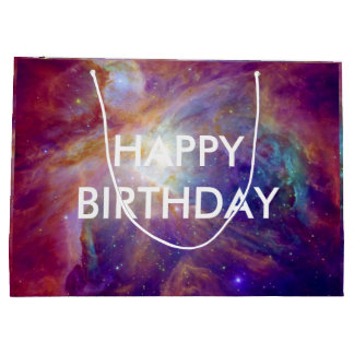 Cumpleaños rosado de la nebulosa de Orión Bolsa De Regalo Grande