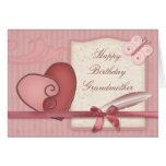 Cumpleaños rosado de las abuelas de Loveheart y de Tarjeton
