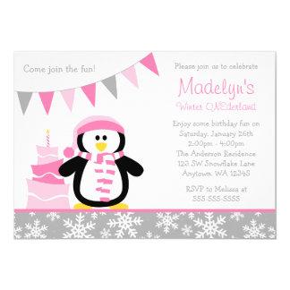 Cumpleaños rosado de Onederland del invierno de Invitación Personalizada