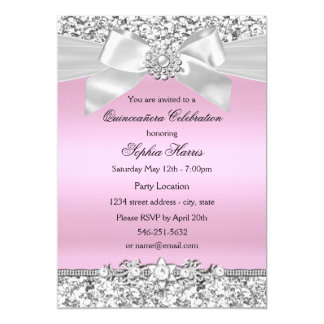 """Cumpleaños rosado de plata de Quinceanera del arco Invitación 5"""" X 7"""""""