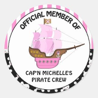 Cumpleaños rosado del barco pirata de los chicas pegatina redonda