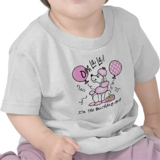 Cumpleaños rosado del caniche camiseta
