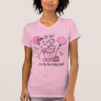 Cumpleaños rosado del caniche camisetas