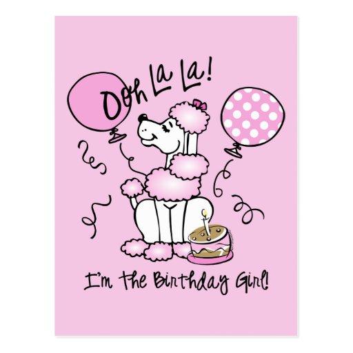 Cumpleaños rosado del caniche postal