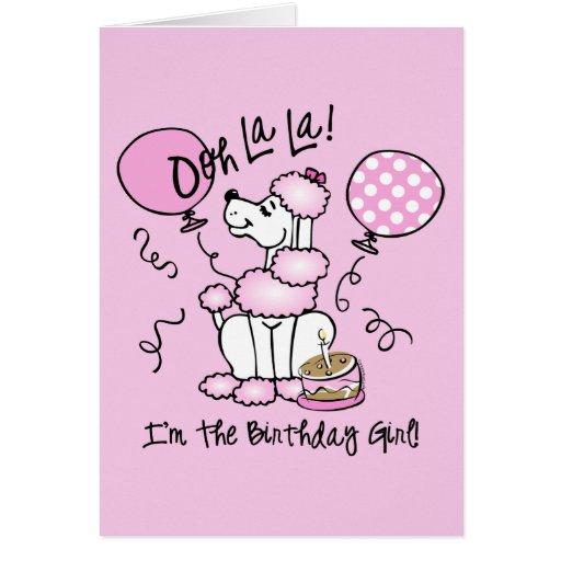 Cumpleaños rosado del caniche tarjeton