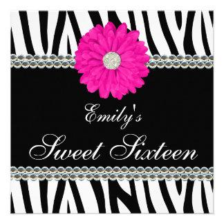 Cumpleaños rosado del dulce 16 de las gemas de la  invitacion personal