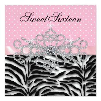 """Cumpleaños rosado del dulce dieciséis de la cebra invitación 5.25"""" x 5.25"""""""