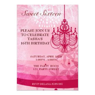 """Cumpleaños rosado del dulce dieciséis de la invitación 5"""" x 7"""""""