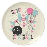 Cumpleaños rosado del Pin de bolos Platos De Comidas