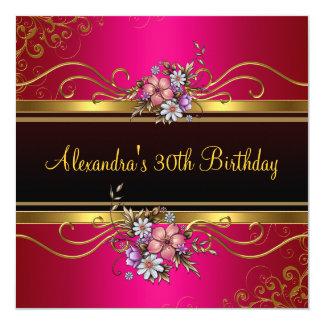 """Cumpleaños rosado fucsia floral elegante de la invitación 5.25"""" x 5.25"""""""