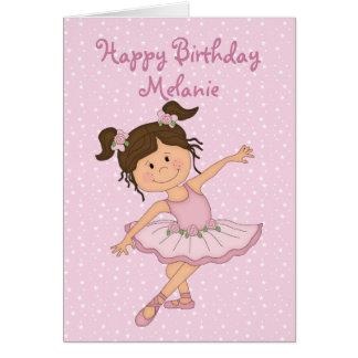 Cumpleaños rosado lindo de la bailarina 2 tarjeta de felicitación
