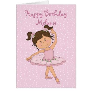 Cumpleaños rosado lindo de la bailarina 4 tarjeta de felicitación