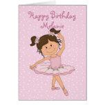 Cumpleaños rosado lindo de la bailarina 4 tarjetón