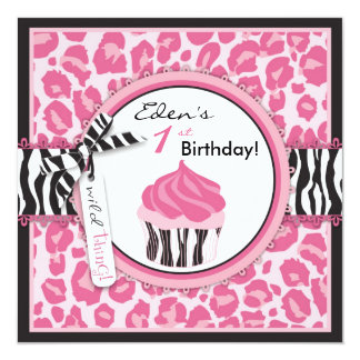 """Cumpleaños rosado salvaje de la impresión y de la invitación 5.25"""" x 5.25"""""""