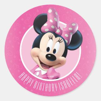 Cumpleaños rosado y blanco de Minnie Pegatina Redonda