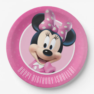 Cumpleaños rosado y blanco de Minnie Platos De Papel