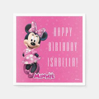 Cumpleaños rosado y blanco de Minnie Servilletas Desechables