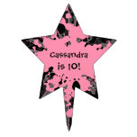 Cumpleaños rosado y negro de la estrella de la sal decoraciones para tartas