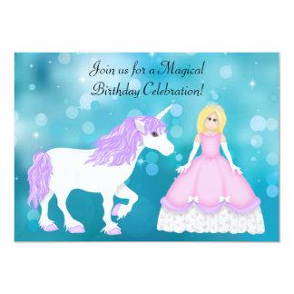 """Cumpleaños rubio lindo de la princesa y del invitación 5"""" x 7"""""""