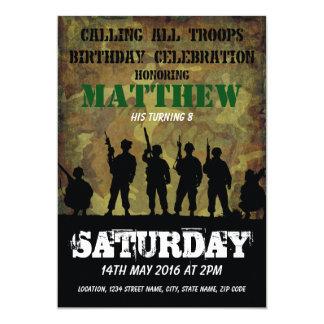 """Cumpleaños rústico de los niños de los soldados invitación 5"""" x 7"""""""