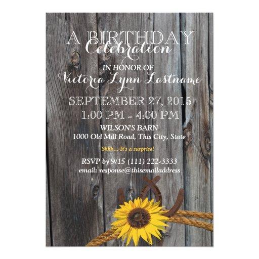 Cumpleaños rústico de madera y del girasol del gra invitación personalizada