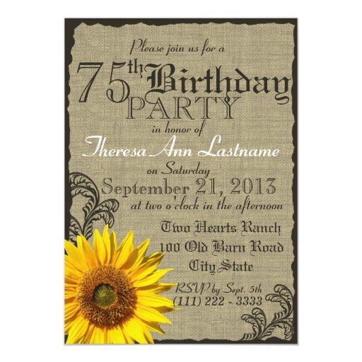 """Cumpleaños rústico del girasol occidental 75.o invitación 5"""" x 7"""""""