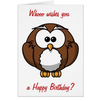 Cumpleaños sabio del búho tarjeta de felicitación