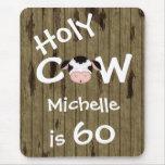 Cumpleaños santo personalizado Mousepad de la vaca Tapete De Ratones