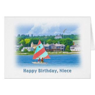 Cumpleaños, sobrina, velero en un lago, náutico tarjeta de felicitación