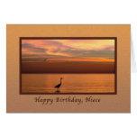 Cumpleaños, sobrina, vista al mar en la puesta del tarjeta