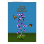 Cumpleaños, sobrino, guisantes de olor y mariposas tarjetón
