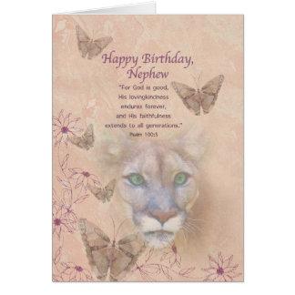 Cumpleaños, sobrino, puma y mariposas tarjeta de felicitación