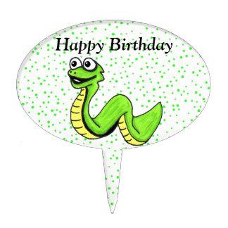 Cumpleaños sonriente de la serpiente amarilla verd figura de tarta