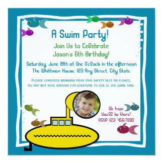 """Cumpleaños sub tonto de la nadada del acuario invitación 5.25"""" x 5.25"""""""
